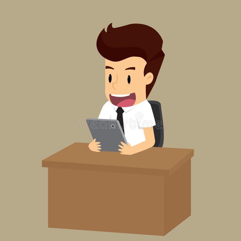 Geschäftsmannprüfinformation Vektorillustrationskarikatur stock abbildung