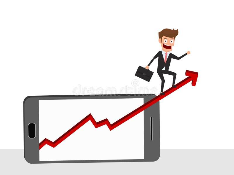 Geschäftsmannreitwachstums-Pfeildiagramm auf intelligentem Telefonschirm Investition finanziell und Erfolgskonzept lizenzfreie abbildung