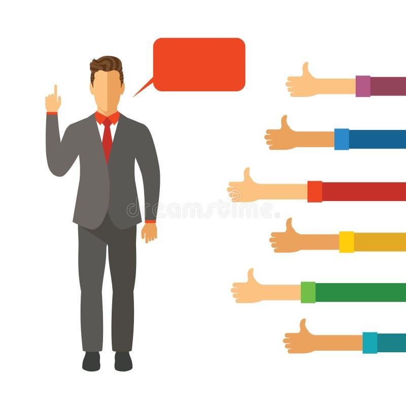 Geschäftsmannrhetorikfähigkeits-Vektorkonzept in der modernen flachen Art lizenzfreie abbildung