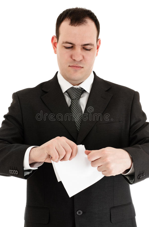 Geschäftsmannrißpapier lizenzfreie stockfotografie