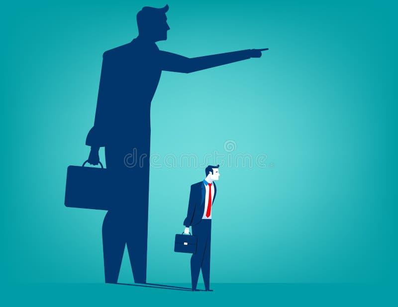 Geschäftsmannschatten, der mit ihm zeigt stock abbildung