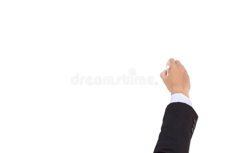 Geschäftsmannschreiben auf einem whiteboard lizenzfreies stockbild