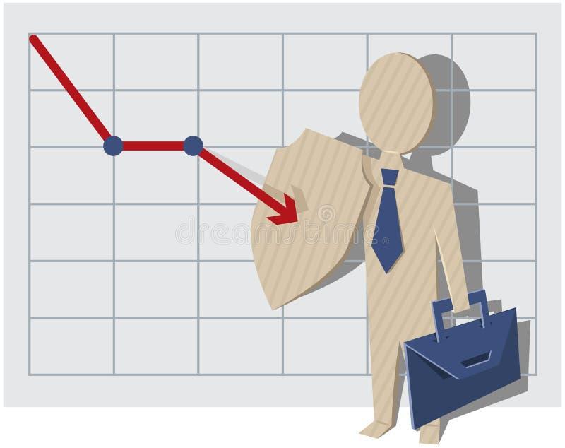 Geschäftsmannschreiben mit einem Filzstift Geschäftsmann schützt sich gegen Konkurs lizenzfreie abbildung
