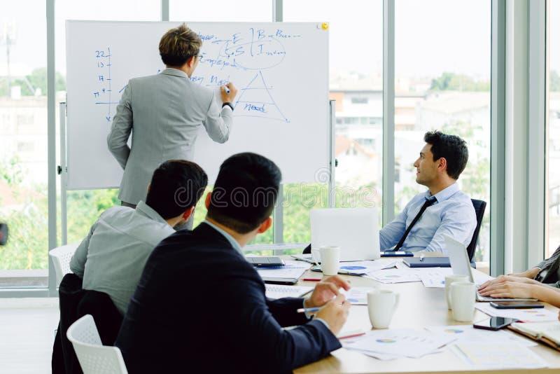 Geschäftsmannsitzung mit Kollegen im Konferenzzimmerbüro lizenzfreie stockbilder