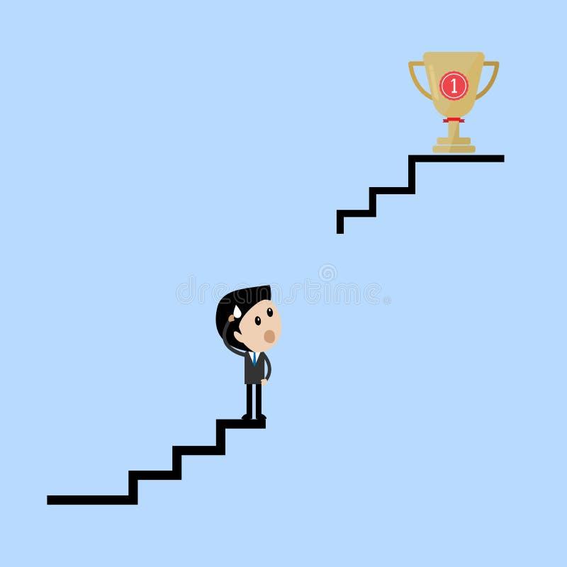 Geschäftsmannstand auf der defekten Treppe, die wie man Trophäe denkt, erhält lizenzfreie abbildung