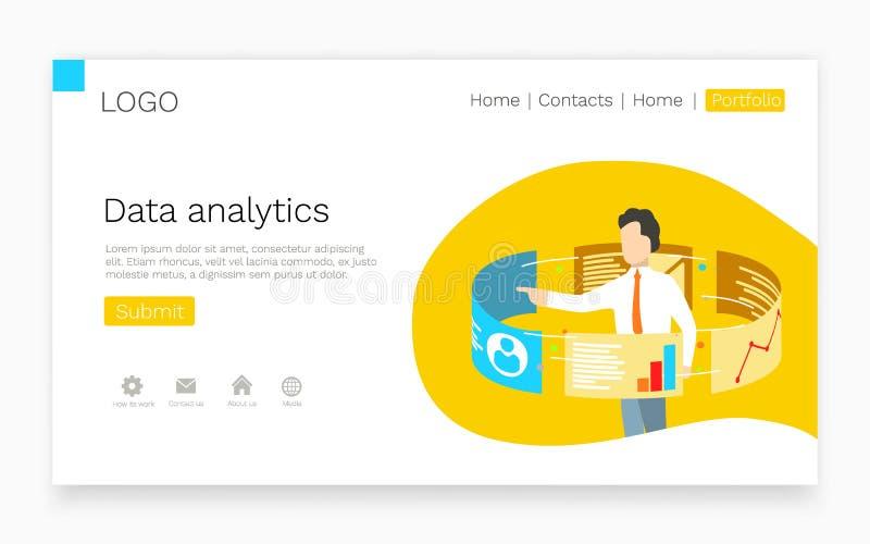Geschäftsmannstand um Touch Screen Monitoren Datenanalytik und Netztechnologiekonzept Landungsseiten-Websiteschablone stock abbildung
