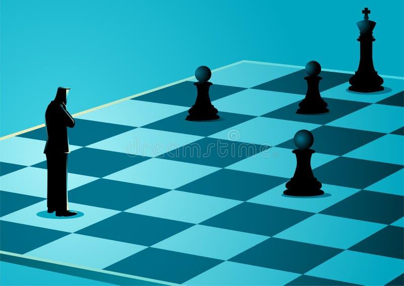 Geschäftsmannstellung beim Denken auf Schachbrett stock abbildung