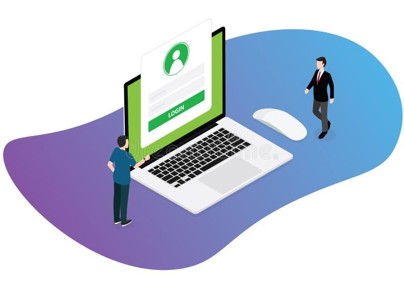 Geschäftsmannstellung der LOGON-Technologiewebsite zwei nahe Laptop mit Formvektor vektor abbildung