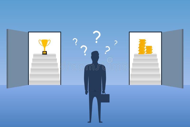Geschäftsmannstellung vor offenen Türen und wählt in, welcher Tür, zum mit Trophäenschale oder -geld hereinzukommen Konzept der a lizenzfreie abbildung