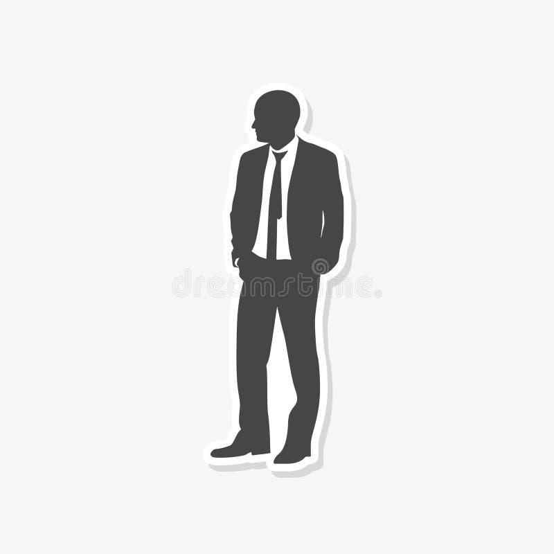Geschäftsmannstellungs-Schattenbildaufkleber stockfotografie