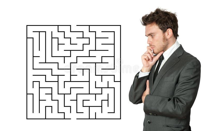 Geschäftsmannsuchvorgang die Lösung lizenzfreies stockbild