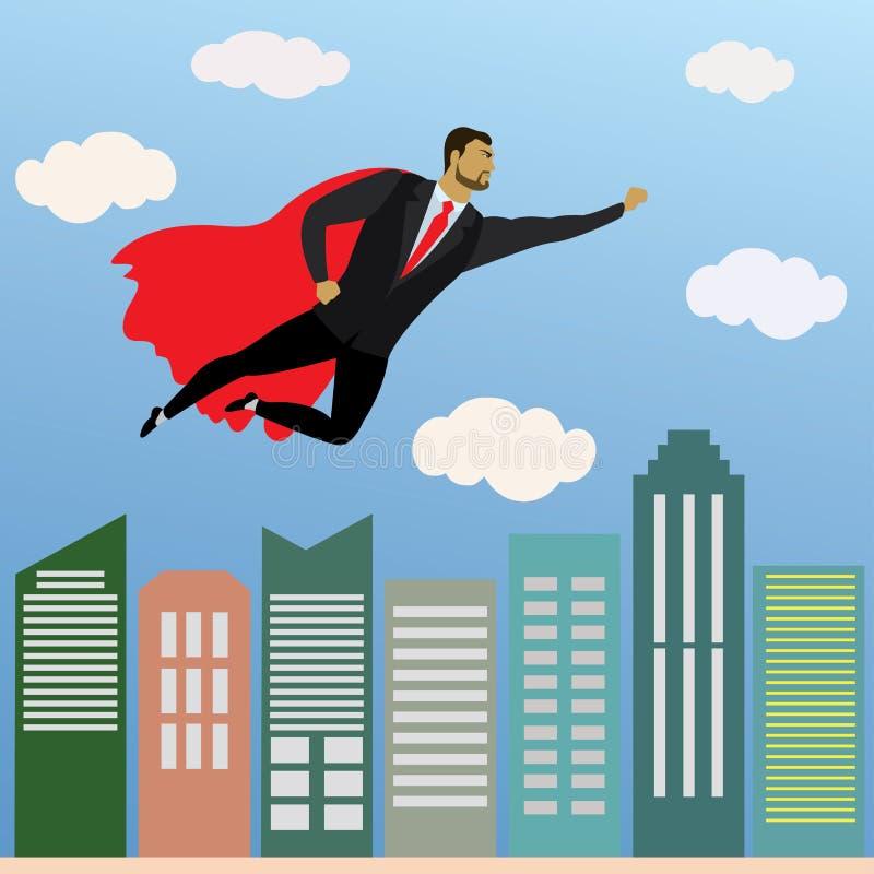 Geschäftsmannsuperheldfliegen im Himmel über dem Büro skyscra stock abbildung