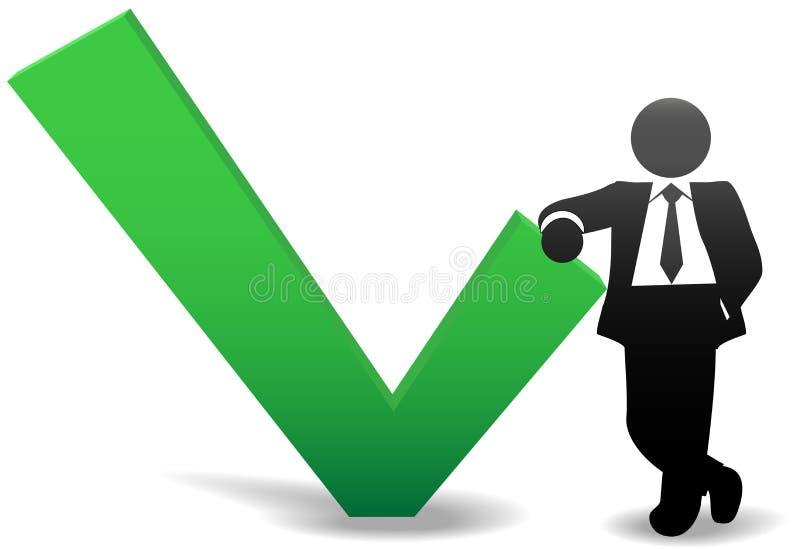 Geschäftsmannsymbol lehnt sich auf OKAYcheckmarkierung stock abbildung