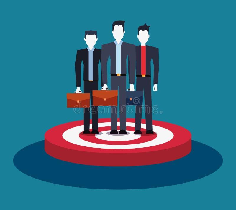 Geschäftsmannteamgruppe, die auf Zielgeschäft steht vektor abbildung