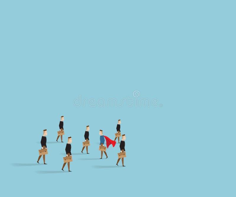 Geschäftsmannweg zur unterschiedlichen Art von anderen Leuten vektor abbildung