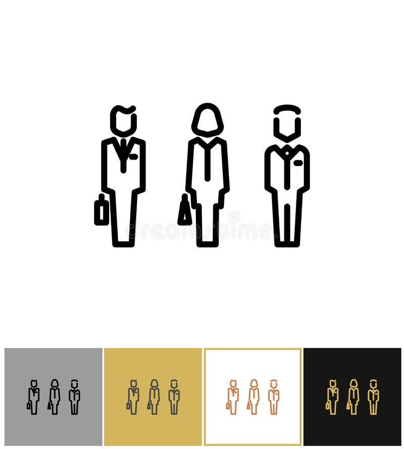 Geschäftsmannzeichen, Ikone oder Geschäftspersonen lizenzfreie abbildung