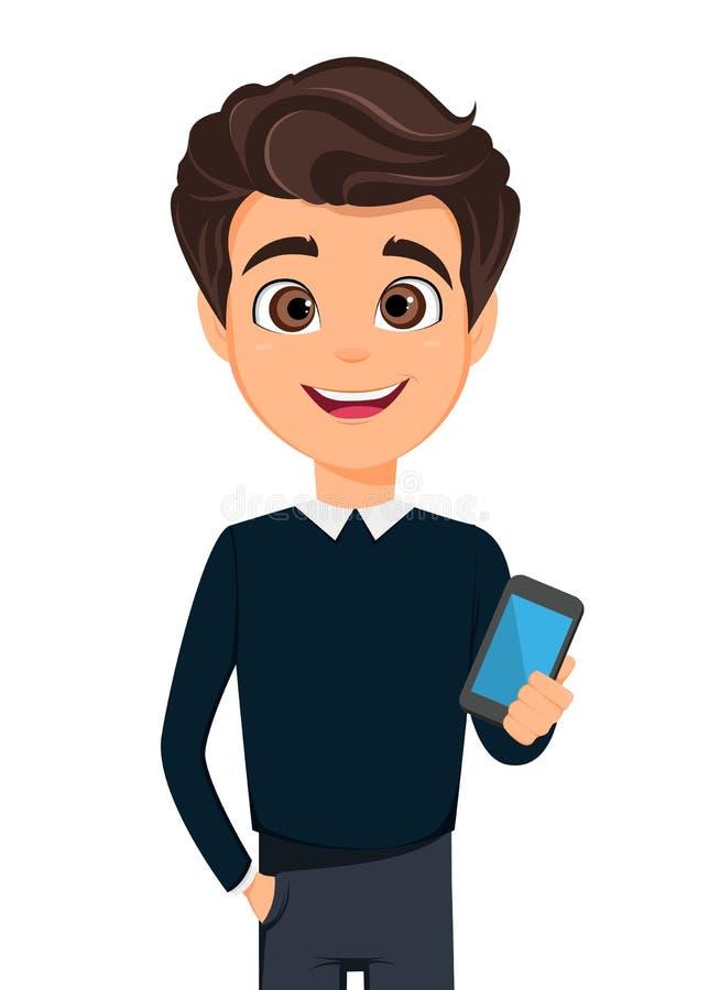 Geschäftsmannzeichentrickfilm-figur Junger hübscher Geschäftsmann in der intelligenten zufälligen Kleidung, die Smartphone hält lizenzfreie abbildung