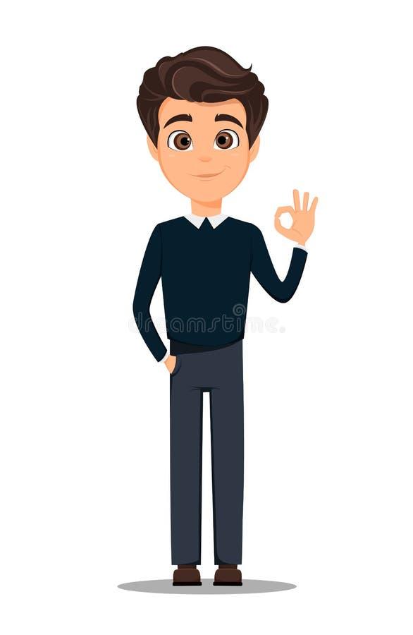 Geschäftsmannzeichentrickfilm-figur Junger hübscher lächelnder Geschäftsmann in der intelligenten zufälligen Kleidung, die OKAYge vektor abbildung