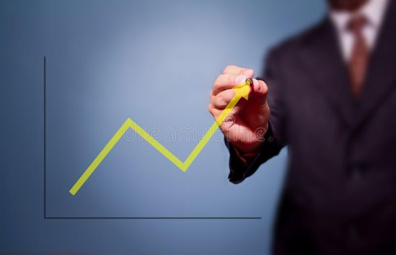 Geschäftsmannzeichnung über Ziel lizenzfreies stockbild