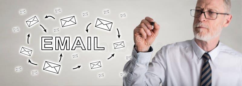 Geschäftsmannzeichnungs-E-Mail-Konzept stockfotos