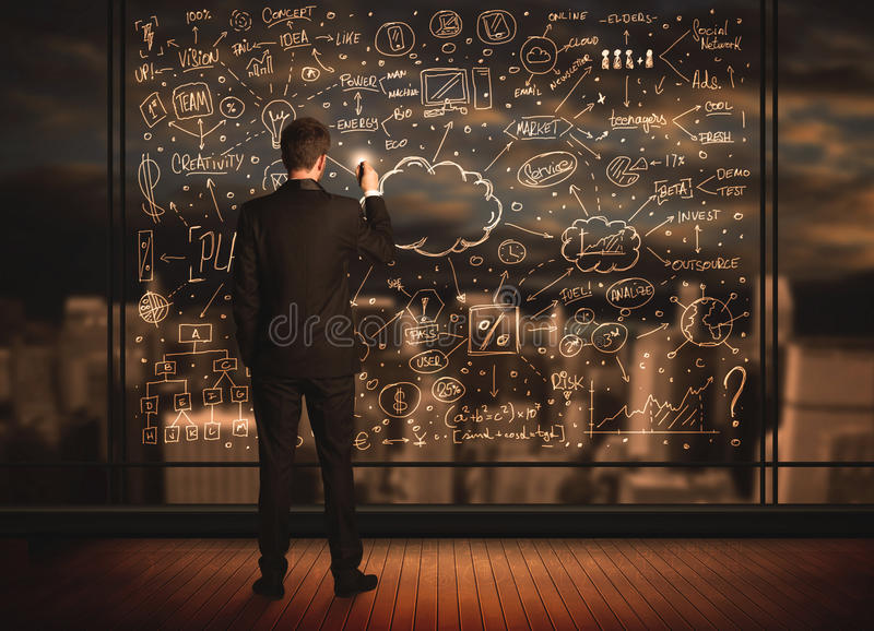 Geschäftsmannzeichnungs-Unternehmensplan stockbilder