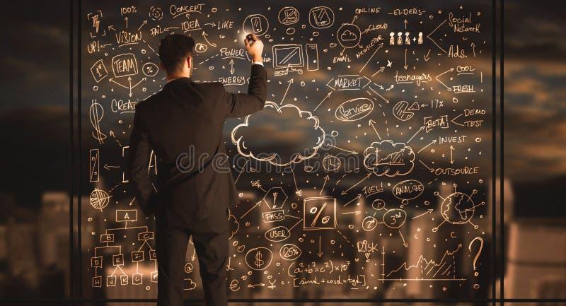 Geschäftsmannzeichnungs-Unternehmensplan lizenzfreies stockfoto