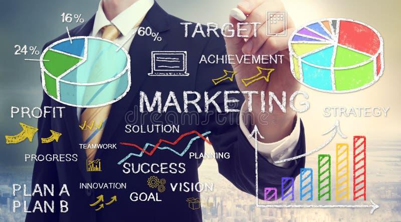 Geschäftsmannzeichnungsmarketing-Konzepte lizenzfreies stockfoto