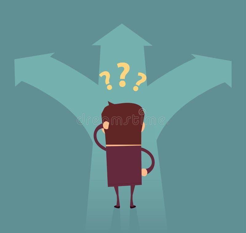 Geschäftsmannzweifeln, welche Richtung die rechte Erfolgsweise ist stock abbildung