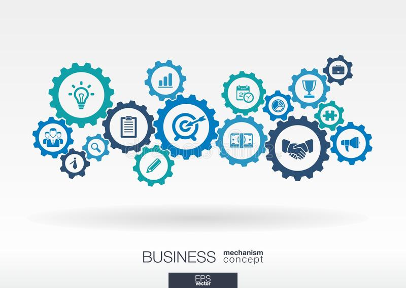 Geschäftsmechanismuskonzept Abstrakter Hintergrund mit verbundenen Gängen und Ikonen für Strategie, digitale Marketing-Konzepte