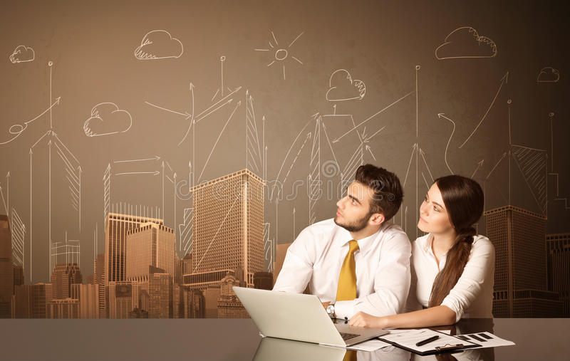 Geschäftspaare mit Gebäuden und Maßen stockbild