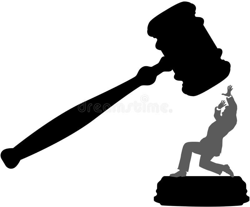 Geschäftsperson in der Gefahr des Gerichtsunrechthammers stock abbildung