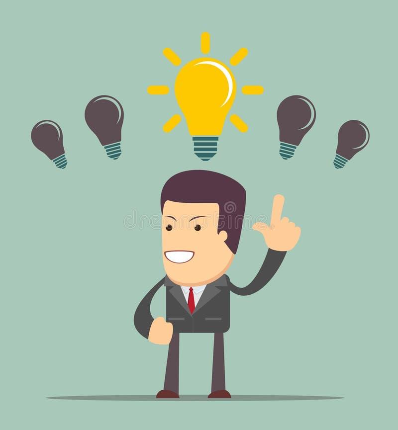 Geschäftsperson, die ein Glühlampekonzept der guten Idee hat vektor abbildung