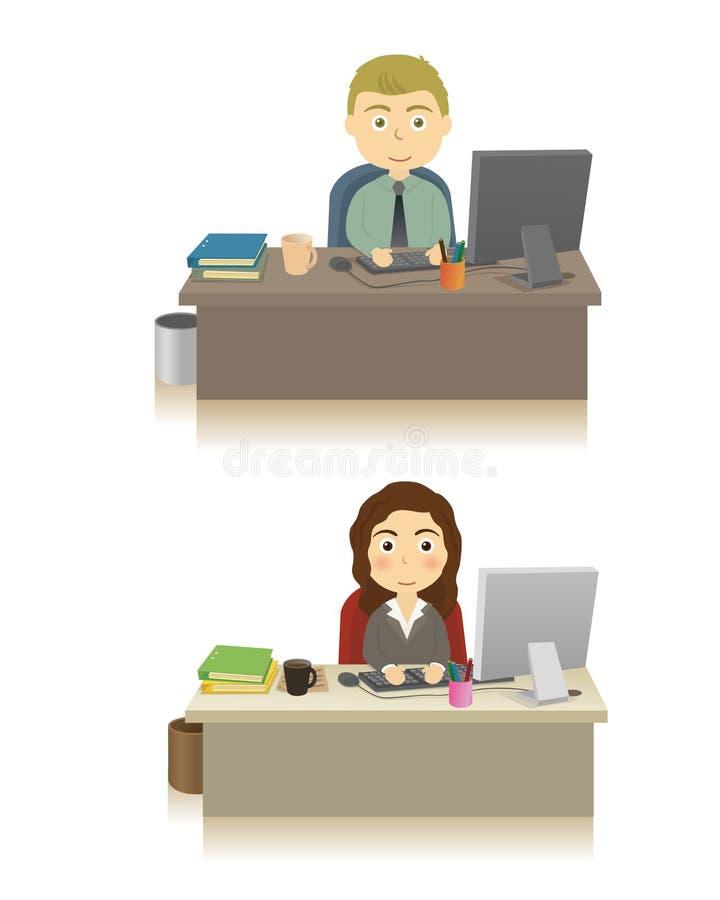 Geschäftsperson im Büro stock abbildung