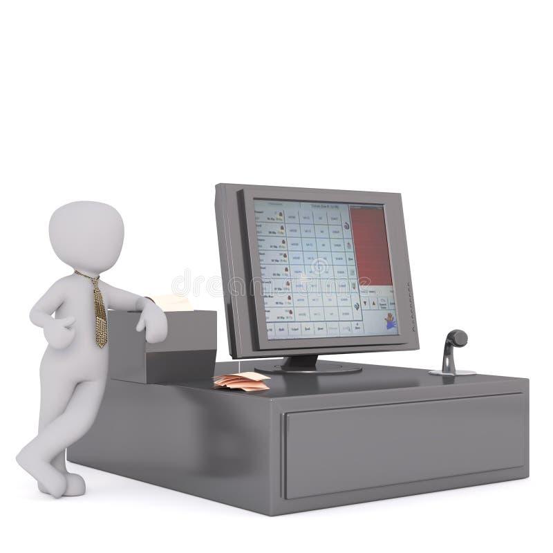 Geschäftsperson nahe bei großem Bargeld bis Register lizenzfreie abbildung