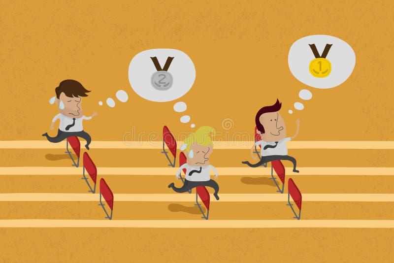 Geschäftspersonen, die das Ziel in einem Rennen erreichen vektor abbildung