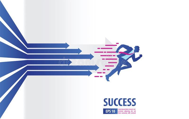 Geschäftspfeilkonzept mit dem Geschäftsmann, der zum Erfolg läuft Beschleunigung für Gewinn Verkäufe eines Gewinns Hintergrundvek vektor abbildung