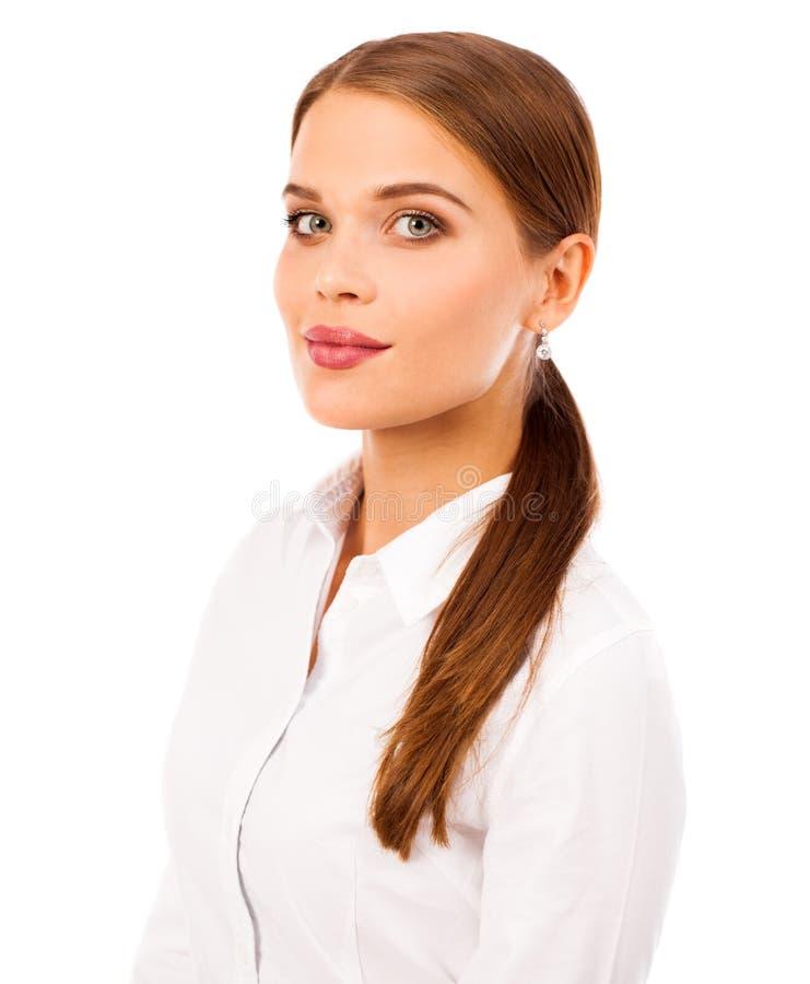 Geschäftsporträt Nahes hohes Porträt jungen Blondine herein stockbilder