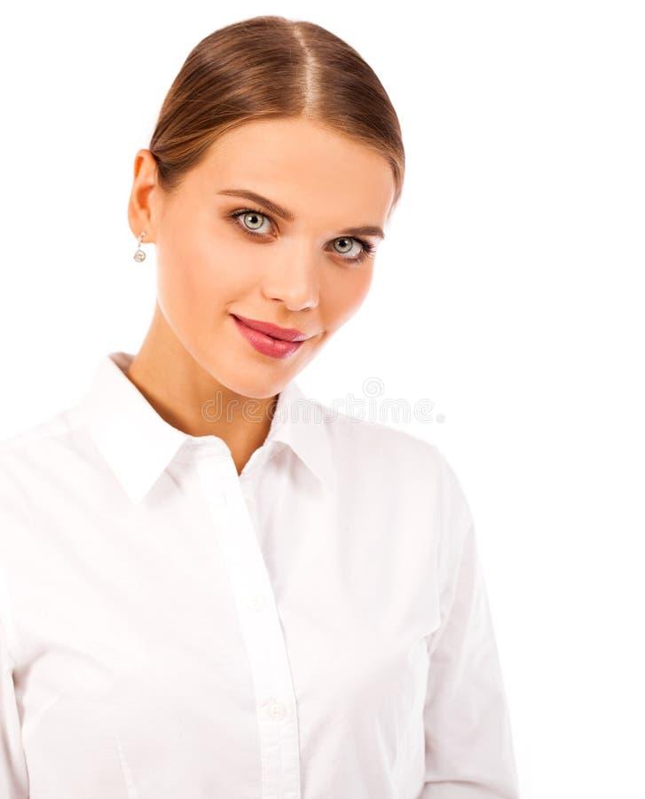 Geschäftsporträt Nahes hohes Porträt jungen Blondine herein stockfotografie