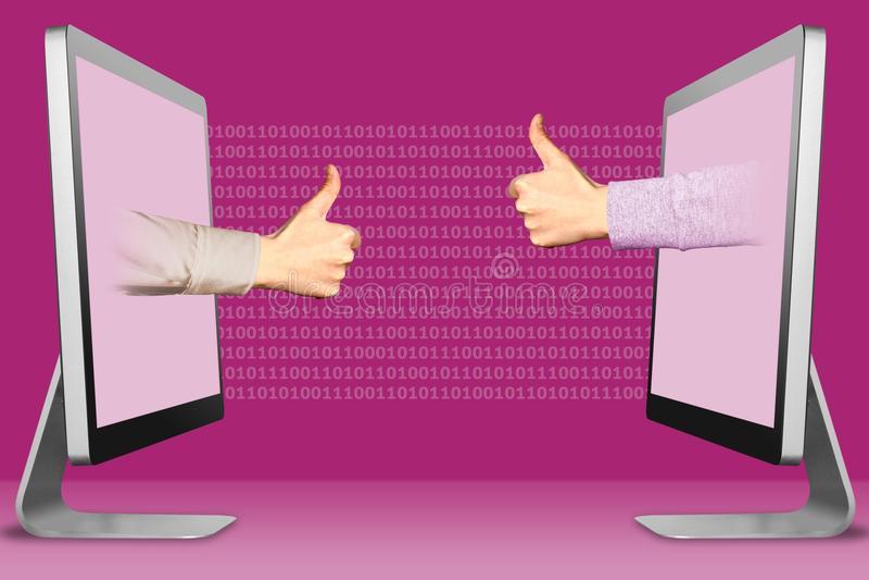 Geschäftspositionskonzept mit Gewinn für beide Parteien, zwei Hände von den Anzeigen Daumen oben, wie und Daumen oben, wie Abbild stock abbildung