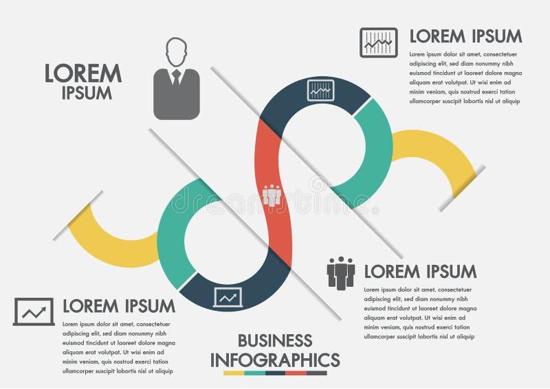 Geschäftsprozess Zeitachse infographics mit 3 Wahlen, Kreise Rand der Farbband-, Lorbeer- und Eichenblätter Drei Schritte infogra stock abbildung