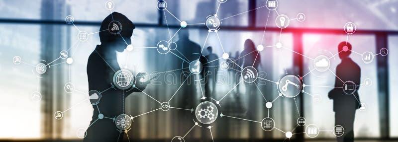 Geschäftsprozessarbeitsfluss-Organisationsstruktur der Technologie industrielle auf virtuellem Schirm Intelligentes Industriekonz vektor abbildung
