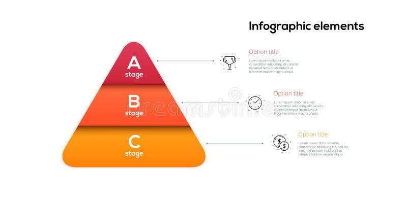 Geschäftspyramiden-Diagramm infographics mit 3 Schritten Pyramidenstadien stellen Elemente grafisch dar Firmen-hiararchy Niveau-D stock abbildung