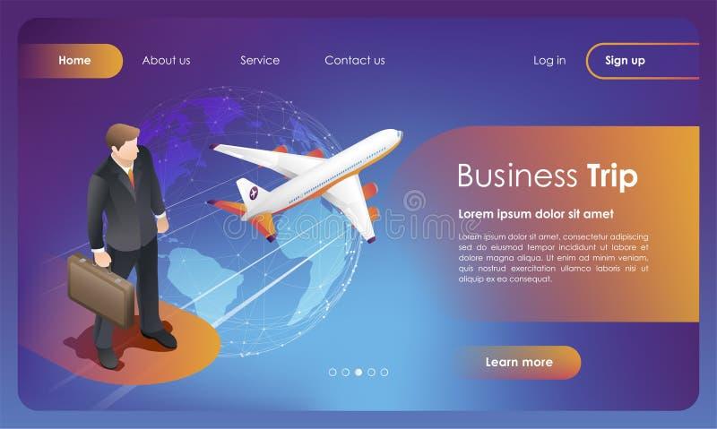Geschäftsreise Geschäftsflüge weltweit Konzept für Webseite, Fahne, App, Darstellung, Social Media lizenzfreie abbildung