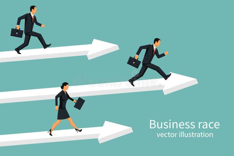 Geschäftsrennen Wirtschaftler, die hinunter Bahn laufen stock abbildung