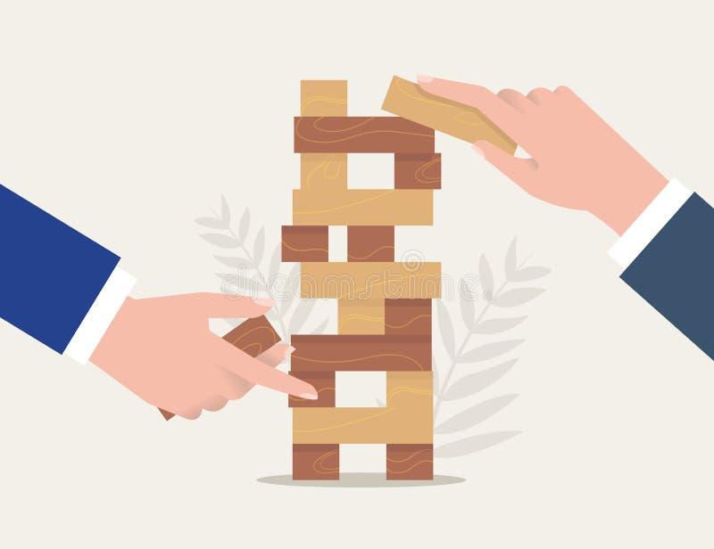 Geschäftsrisiken, tapferer Schritt, Vektorkonzept Geschäftsmann, der mit einem Aktenkoffer läuft Zwei Geschäftsmänner spielen das lizenzfreie abbildung