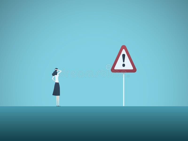 Geschäftsrisiko-Vektorkonzept Geschäftsfrau und Warnzeichen Symbol der Gefahr, Ausfall, Konkurs, Rezession und vektor abbildung