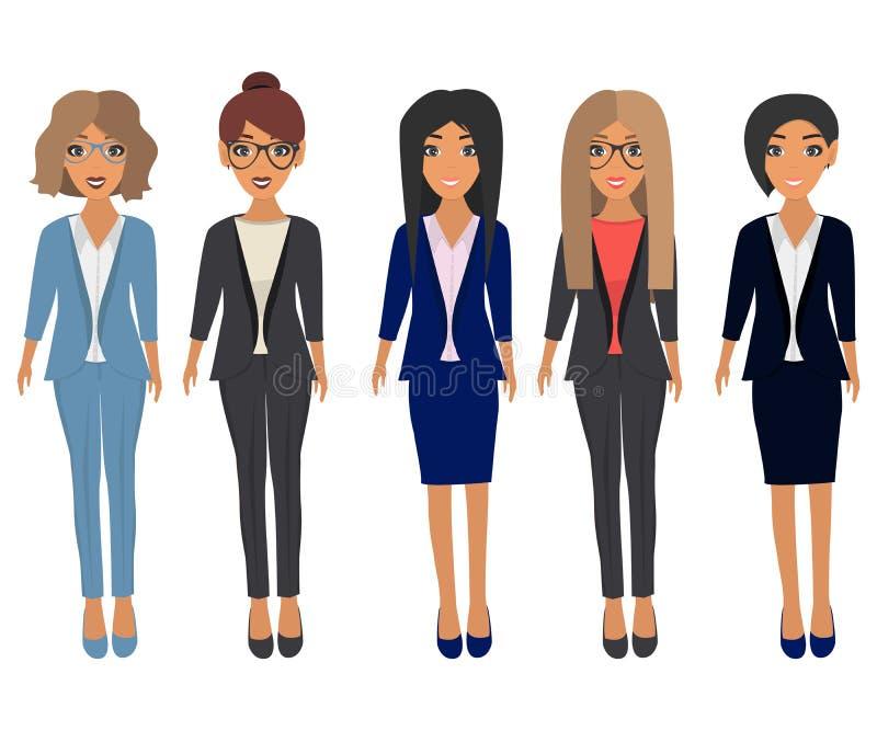 Geschäftsschönheiten in der Bürokleidung Brunette, blondes, hellbraunes und Kastanienhaar Karikatur polar mit Herzen stock abbildung
