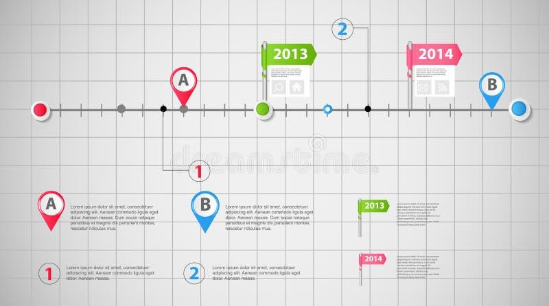 Geschäftsschablonen-Vektorillustration der Zeitachse infographic lizenzfreie abbildung