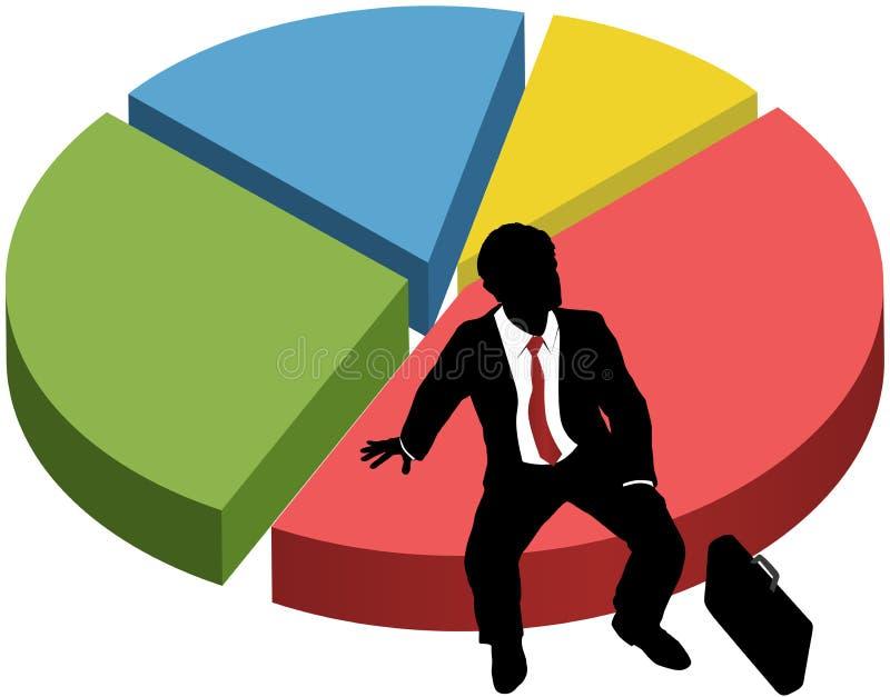 Geschäftsschattenbild sitzen Marktanteildiagramm stock abbildung