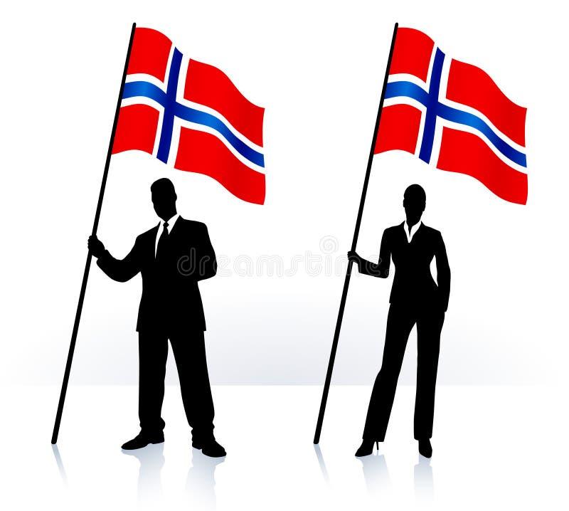 Geschäftsschattenbilder mit wellenartig bewegender Markierungsfahne von Norwegen lizenzfreie abbildung